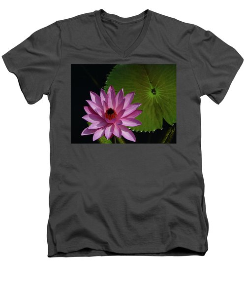 Pink Lotus Men's V-Neck T-Shirt by Evelyn Tambour