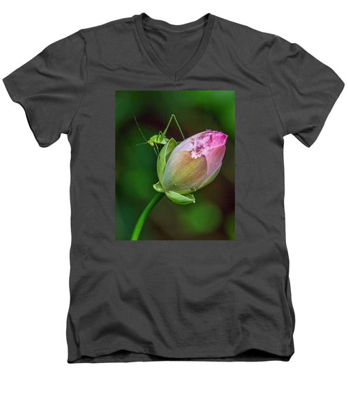 Men's V-Neck T-Shirt featuring the photograph Pink  Lotus With Company by Susi Stroud