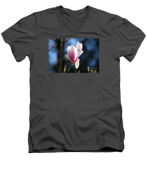Men's V-Neck T-Shirt featuring the photograph Pink Magnolia 20120402_129a by Tina Hopkins