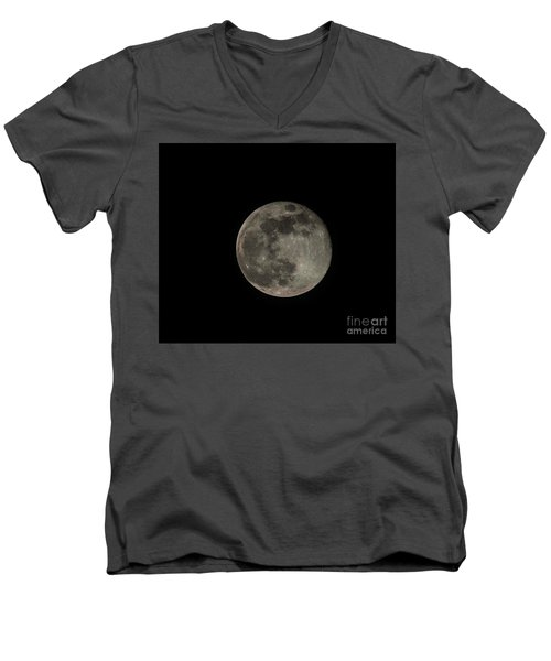 Men's V-Neck T-Shirt featuring the photograph Pink Moon by David Bearden