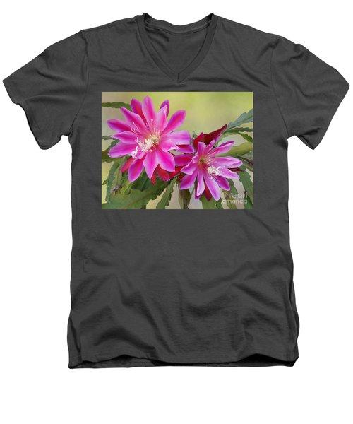 Pink Epiphyllum Lily Men's V-Neck T-Shirt by Myrna Bradshaw