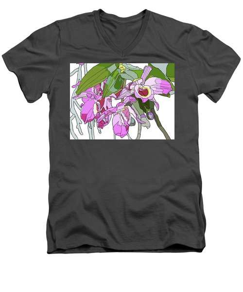 Pink Orchid Bunch Men's V-Neck T-Shirt by Jamie Downs