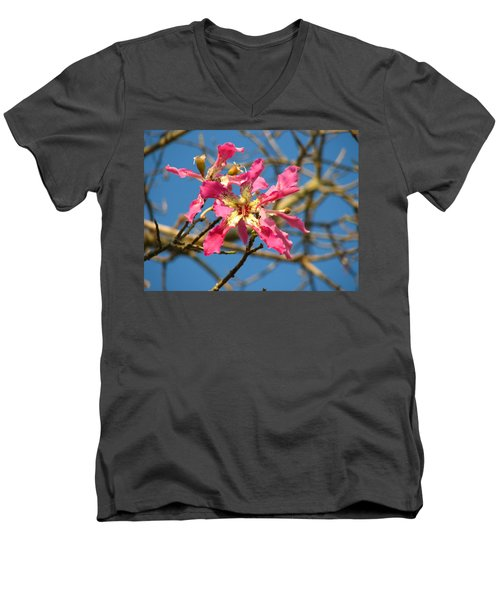 Men's V-Neck T-Shirt featuring the photograph Pink Orchid Tree by Carla Parris