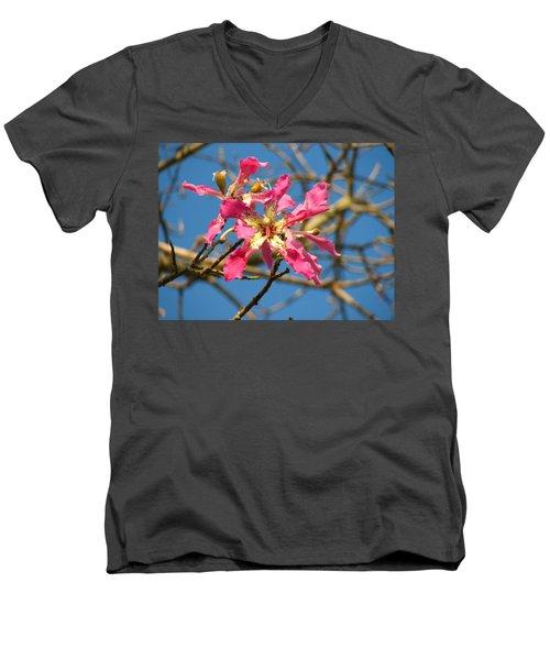 Pink Orchid Tree Men's V-Neck T-Shirt