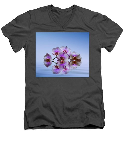 Pink Orchids Blue Background Men's V-Neck T-Shirt