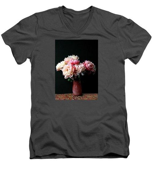 Pink Peonies In Pink Vase Men's V-Neck T-Shirt