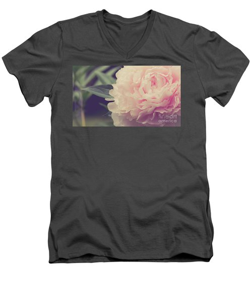 Men's V-Neck T-Shirt featuring the photograph Pink Peony Vintage Style by Edward Fielding