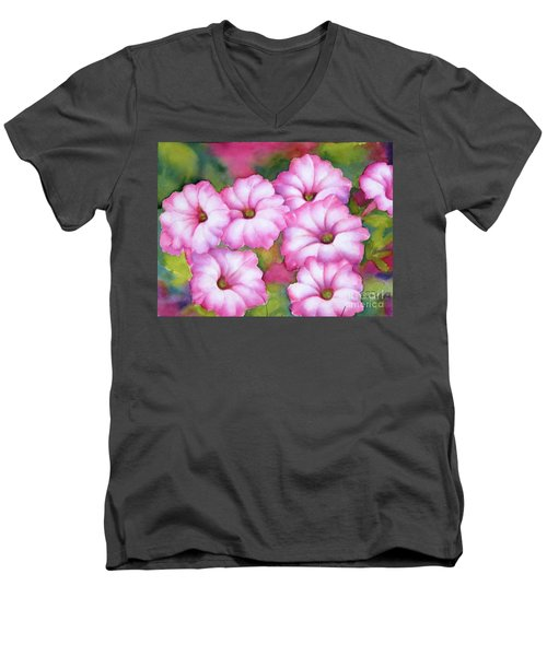 Pink Petunias Men's V-Neck T-Shirt
