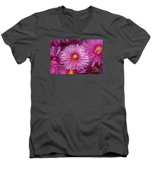Pink Pigface Flowers Men's V-Neck T-Shirt
