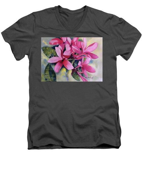 Pink Plumeria Flowers Men's V-Neck T-Shirt