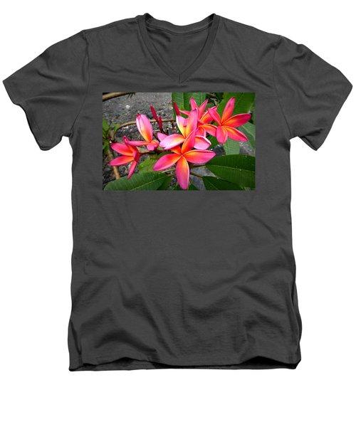 Pink Plumerias Men's V-Neck T-Shirt by Lori Seaman