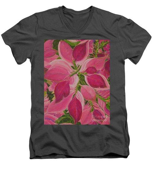 Pink Poinsettia Men's V-Neck T-Shirt