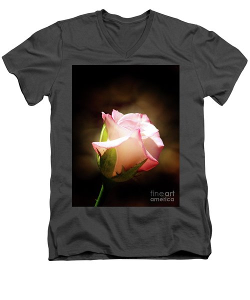 Pink Rose 2 Men's V-Neck T-Shirt by Inspirational Photo Creations Audrey Woods