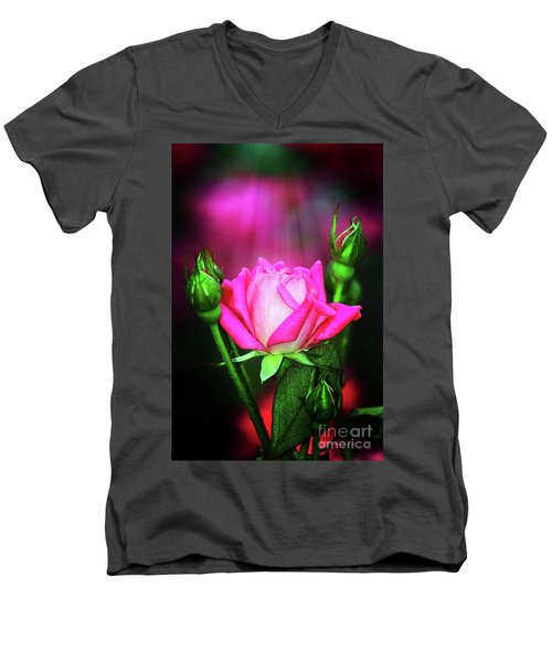 Pink Rose Men's V-Neck T-Shirt by Inspirational Photo Creations Audrey Woods