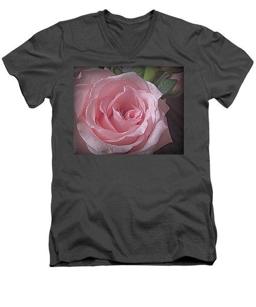 Pink Rose Bliss Men's V-Neck T-Shirt by Suzy Piatt