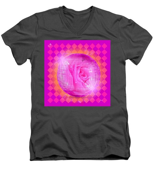 Pink Rose In Globe Men's V-Neck T-Shirt