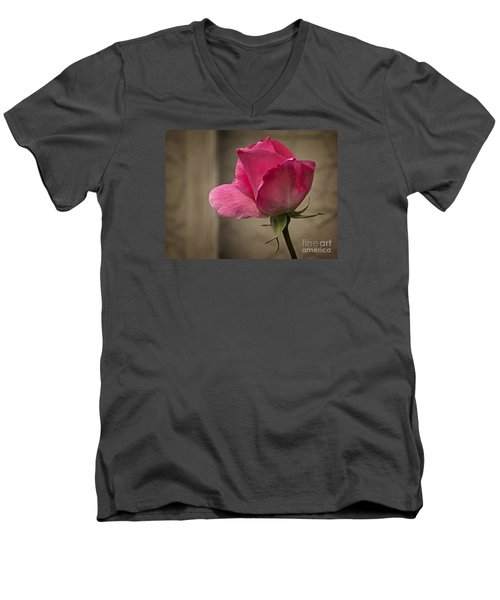 Men's V-Neck T-Shirt featuring the photograph Pink Rose by Inge Riis McDonald