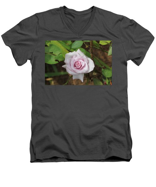 Pink Rose Men's V-Neck T-Shirt by Jerry Battle