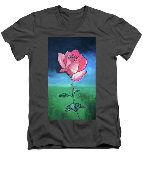 Pink Rose Men's V-Neck T-Shirt by Mary Ellen Frazee