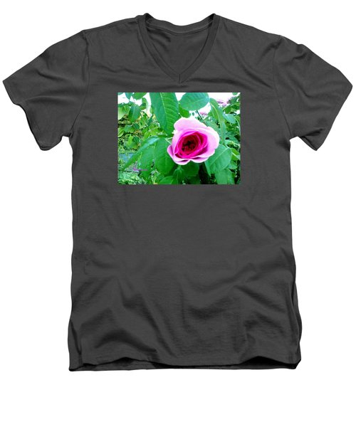 Men's V-Neck T-Shirt featuring the photograph Pink Rose by Sadie Reneau