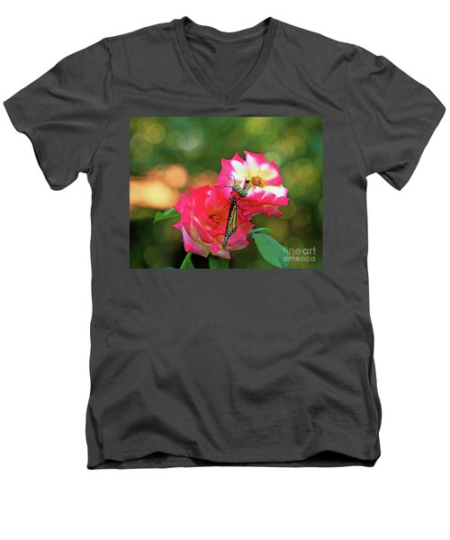 Pink Roses And Butterfly Photo Men's V-Neck T-Shirt by Luana K Perez