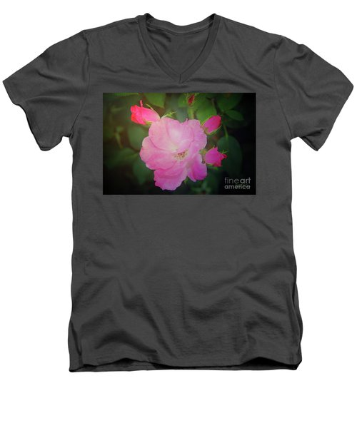 Pink Roses  Men's V-Neck T-Shirt by Inspirational Photo Creations Audrey Woods