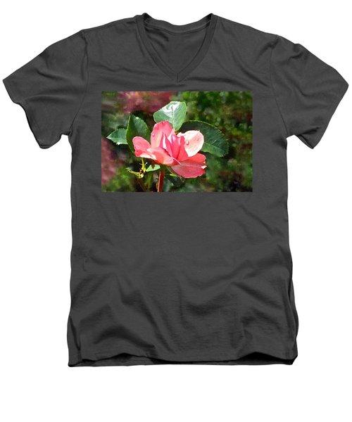 Pink Roses In The Rain 2 Men's V-Neck T-Shirt