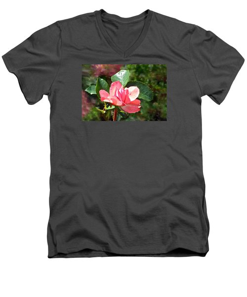 Pink Roses In The Rain 2 Men's V-Neck T-Shirt
