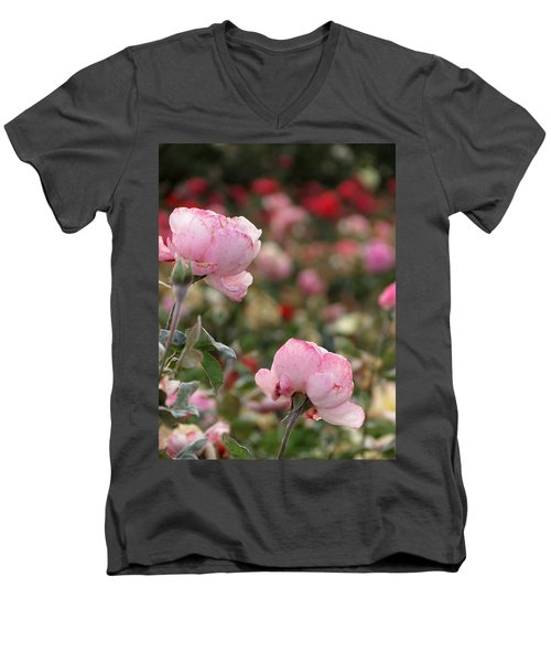 Men's V-Neck T-Shirt featuring the photograph Pink Roses by Laurel Powell