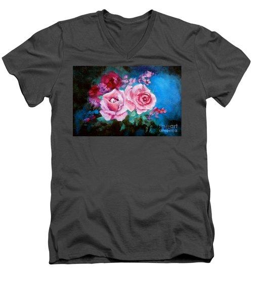 Pink Roses On Blue Men's V-Neck T-Shirt by Jenny Lee