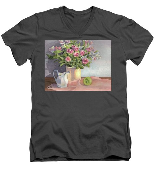 Men's V-Neck T-Shirt featuring the painting Pink Roses by Vikki Bouffard