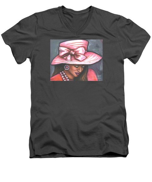 Men's V-Neck T-Shirt featuring the painting Pink Satin Hat by Alga Washington