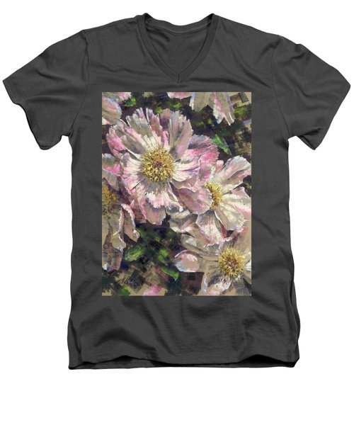 Pink Single Peonies Men's V-Neck T-Shirt
