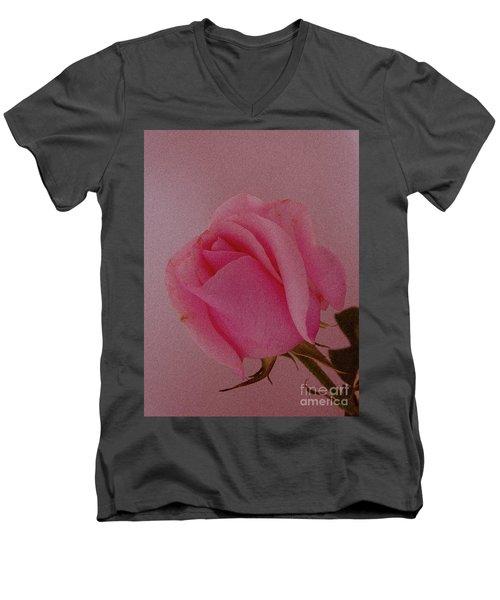 Pink Single Rose Men's V-Neck T-Shirt