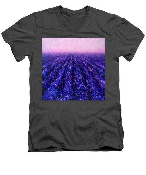 Pink Skies - Lavender Fields Men's V-Neck T-Shirt by Karen Whitworth