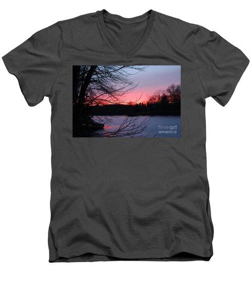 Pink Sky At Night Men's V-Neck T-Shirt by Jason Nicholas