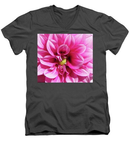 Pink Summer Flower Macro Men's V-Neck T-Shirt
