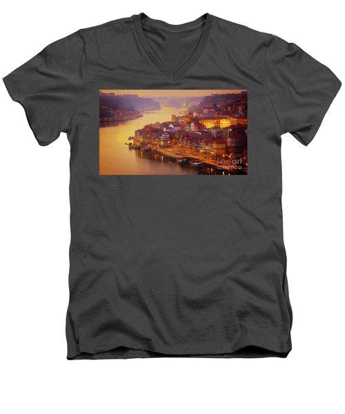 Pink Sunset In Porto Men's V-Neck T-Shirt