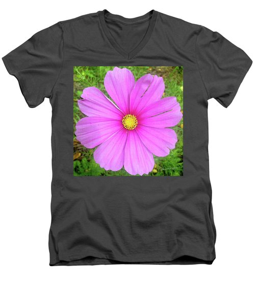 Men's V-Neck T-Shirt featuring the photograph Pink by Terri Harper