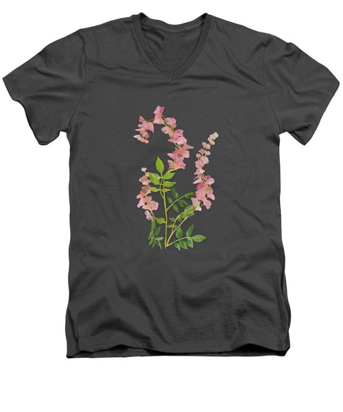 Pink Tiny Flowers Men's V-Neck T-Shirt by Ivana Westin