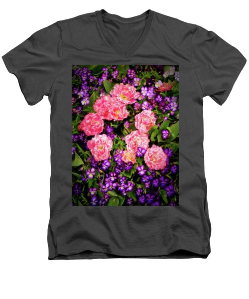 Men's V-Neck T-Shirt featuring the photograph Pink Tulips With Purple Flowers by James Steele