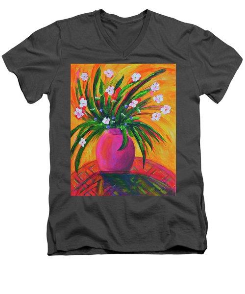 Pink Vase In Warm Afternoon Men's V-Neck T-Shirt