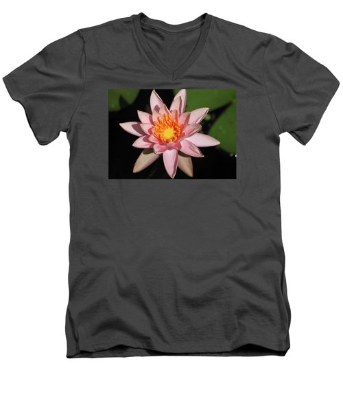Men's V-Neck T-Shirt featuring the photograph Pink Water Lily 2016 by Suzanne Gaff