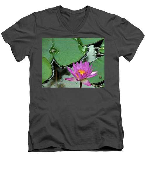 Men's V-Neck T-Shirt featuring the photograph Pink Water Lily by Judy Vincent