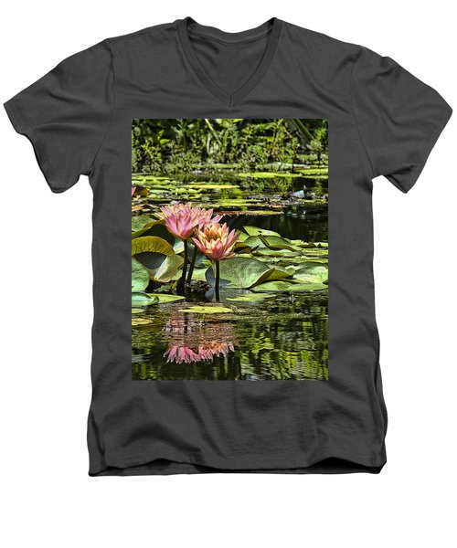 Men's V-Neck T-Shirt featuring the photograph Pink Water Lily Reflections by Bill Barber