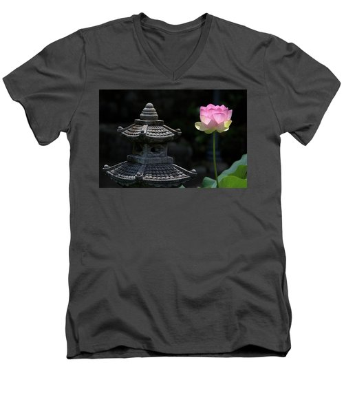 Pink Water Lily With Black Background Men's V-Neck T-Shirt
