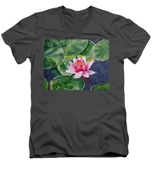 Pink Waterlily Men's V-Neck T-Shirt