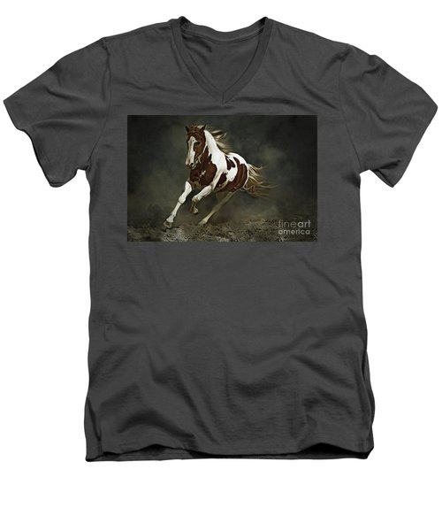 Pinto Horse In Motion Men's V-Neck T-Shirt