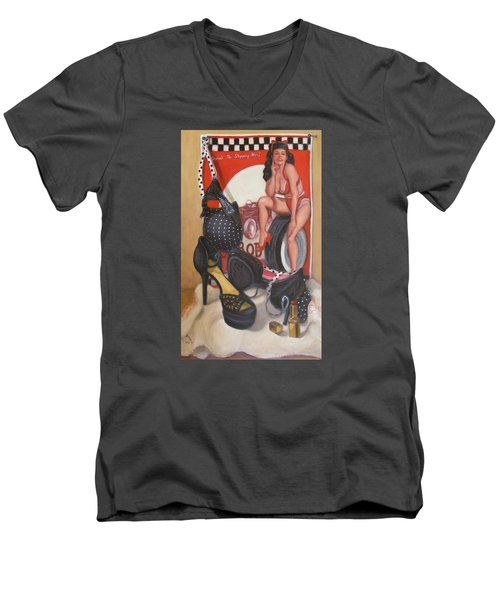 Men's V-Neck T-Shirt featuring the painting Pinup #1 by Donelli  DiMaria