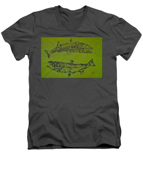 Pisces Rising  Steelhead Salmon Men's V-Neck T-Shirt